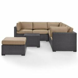 Crosley Biscayne 5 Piece Wicker Patio Sectional Set In Brown And Mocha