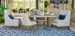 Jeff Lewis Sloan - 7 Piece Designer Dining Set - Table 4 Side Chairs 2 Captain