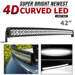 42 Inch Curved Led Light Bar Combo Spot Flood Driving Pickup Atv Off-road 560w