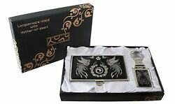 mother of pearl phoenx business card holder key chain key ring gift set #72