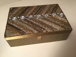 Bejeweled Mirrored Jewelry Box Gold And Copper Jewel Encrusted Lid