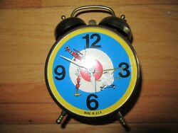 8y/rare Lux Twin Bell Clock/german Fighter Plane/animated/usa/metal/alarm/works