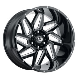 Vision 361 Spyder 24x12 5x139.7 Offset -51 Gloss Black Milled Spokes Qty Of 4
