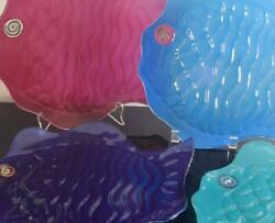Annieglass 12 Dinner Plates, Set Of 4 , Fish Design In 4 Colors