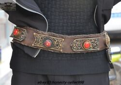 Tibet Cattle Leather Inlay Silver Coral Eight Treasure Symbol Belt Waist Girdle