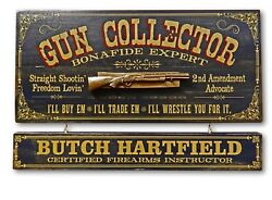 Vintage Style Wood Sign Personalized Gun Collector 23.75 X 11