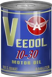 Vintage Style Metal Sign Veedol Motor Oil Can Gas Station 12x18