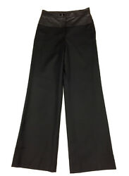 Black Wool/cashmere Pants W/quilt-stitched Leather And Turnlock Accent Sz36
