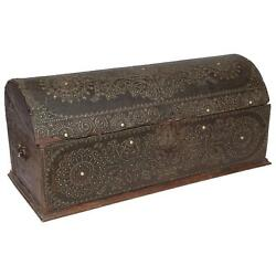 19th Century Dome Top Leather And Wood Trunk Brass Studs