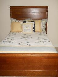 Antique Oak Bedroom Suite. Full Length Bed Dresser With Mirror And Wash Stand.