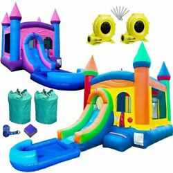 Inflatable Bounce House Water Slide Duo With Pool Rainbow Princess Jump Castle
