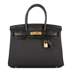 Hermes Black Matte AlligatorTogo Birkin Touch 30cm Gold Hardware
