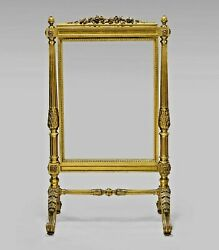 Antique Louis Xvi-style Gilt Wood Fire Screen French 19th Century