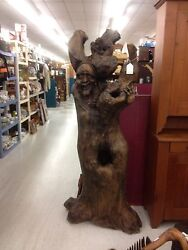 Life Size Wood Hand Carved 6ft Tall Tree Sculpture Statue One Of Kind Rare