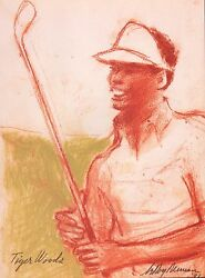 Leroy Neiman Book Plate Print Golf Pro Tiger Woods In Sepia Tones 1991