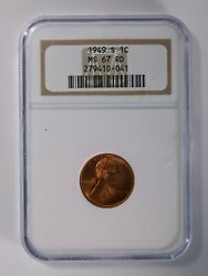 1949-s Lincoln Wheat Cent, Ngc Ms67 Red, Older Holder