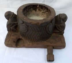 Indian Antique Hand Carved Wooden Bird Shape Spice Salt Container Bowl