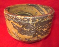 1930's Indian Handcrafted Shaded Brown And Cream Stone Food Eating Bowl