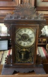 Antique New Haven Wooden Kitchen Clock Made In The Usa