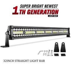 Tri Row 32inch 585w Led Light Bar Spot Flood Combo For Jeep Offroad 4wd Rzr 34
