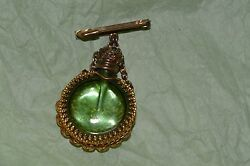 Antique Filigree Perfume Bottle Gold Filigree With Green Stone Top And Glass