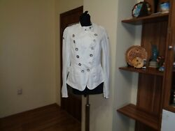 High Use By Claire Campbell White Cotton Blend Double Breasted Short Jacket-