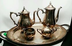 Is Co Silverplated Tea Set Four Piece With Tray I-1473