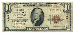 Carthage Missouri Mo 10 National Bank Note 1929 Series Type 1 Ch. 4441