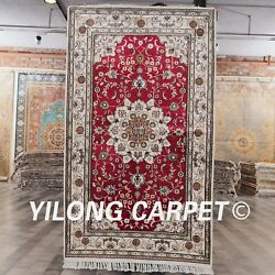Yilong 3and039x5and039 Handmade Oriental Silk Rug Family Room Carpet Y128c