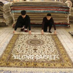 YILONG 6'x9' Middle Hand knotted Silk Persian Carpet Bedroom Hand Woven Rug 209B