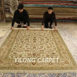 YILONG 6'x9' Pictorial Handmade Silk Carpet Kitchen Hand Woven Area Rugs 186AB