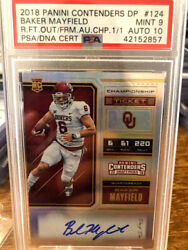 2018 Panini Contenders Baker Mayfield Rookie CHAMPIONSHIP Ticket Auto 11 PSA RC