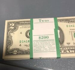 100 Uncirculated Rare 2.00 Bills Sequentially Bank Notes Huge Investment