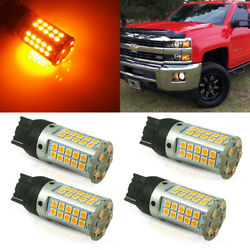 4X Amber LED Bulbs Canbus Front Signal Light For 14-19 Chevy Silverado 2500 3500