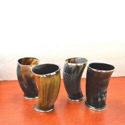Set Of 4 Assorted Ox Viking Drinking Horn Cup Mug Chalice Stein 6 Beer Wine Ale