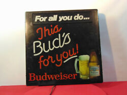 Vintage This Buds For You Light Up Wall Hanging Budweiser Sign 18x4x18