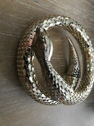 Whiting And Davis Vintage Mesh Coiled Gold Tone Snake Cuff Bracelet Or Arm Band