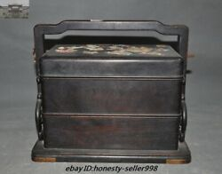Marked Old Chinese Dynasty Rosewood Wood Inlay Shell Flower Food Box Containers