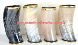Drinking Cup Chalice Stein For Beer Wineset Of 4 Natural Ox Horn Tankard Viking