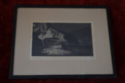 Americana Signed Etching Alice Standish Buell Old Covered Bridge At Night 1933