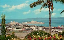 Vintage Postcard Suva Fiji Busy Harbor With 2 Cruise Ships Unposted
