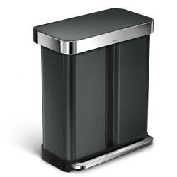 58 L Black Stainless Steel Dual Compartment Rectangular Recycling Step On Trash