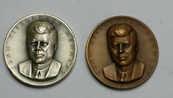John Fitzgerald Kennedy Medallic Art Co. .999 Pure Silver And Solid Bronze Medals