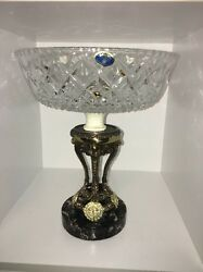 Czechoslovakia Bohemia Hand Cut Clear Glass With Metal And Cast Iron Vase