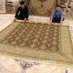 YILONG 8'x10' All Over Design Persian Silk Rugs Hand-knotted Home Carpets 0939