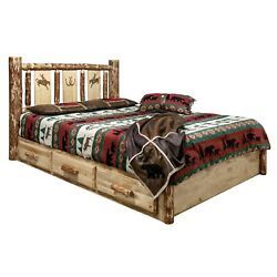 Amish Log Platform Bed with Storage Drawers QUEEN Laser Rustic Unique Beds