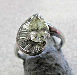 Estate Fancy Yellow Diamond Ring in Platinum Size 6  Chipped as is   MAKE OFFER
