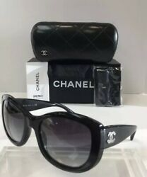 Chanel 5239 5013C Black Plastic Silver Logo Grey Gradient Women Sunglasses New