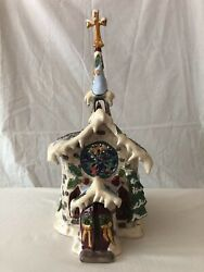 Blue Sky Clayworks Silent Night Church With Music Box Heather Goldminc Retired