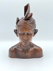 Vintage Malaysian Hard Wood Bust Sculpture Headdress Collectible Hand Carved Art